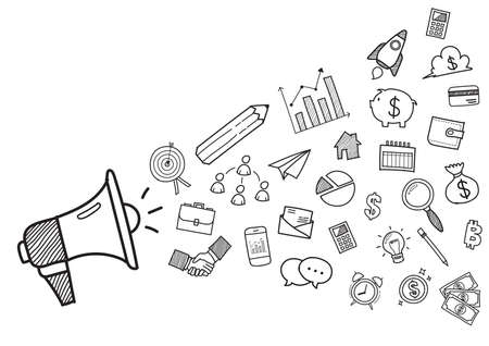 Megaphone with Business doodles hand drawn icons. Vector illustration