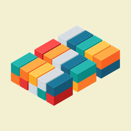 Cargo container isometric view.  Vector illustration. Flat style design Vectores