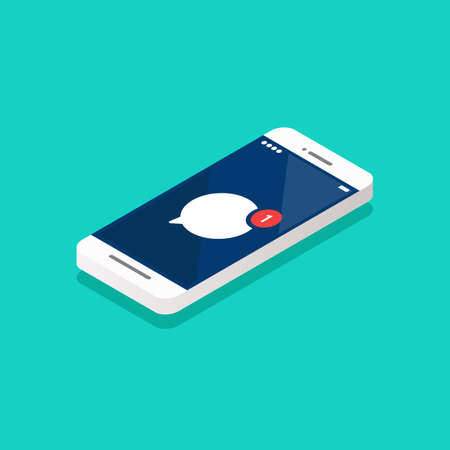Message notification on smartphone isometric view. Vector illustration Vectores