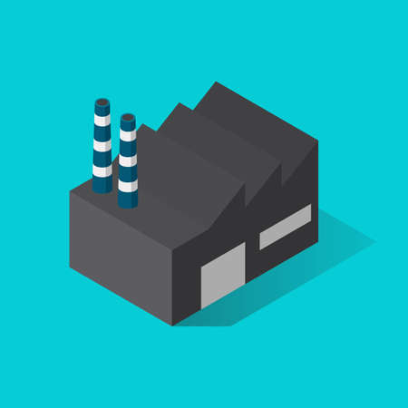 Factory building isometric view. Vector illustration