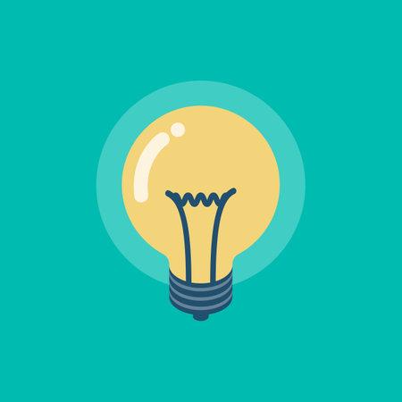 Isometric lightbulb icon. Flat design vector illustration