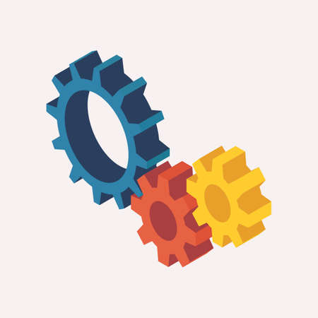 Isometric View of Mechanic Gears. 3D Vector illustration