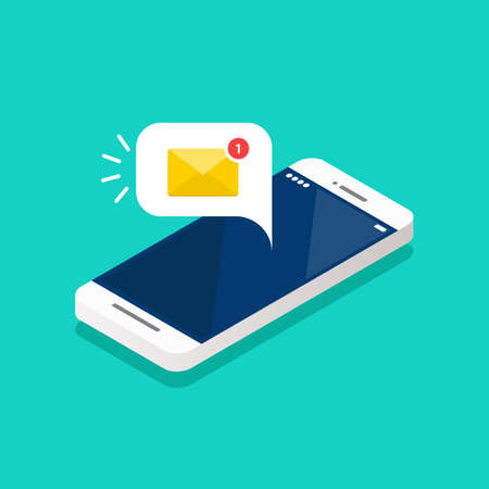 New email notification on the smartphone screen isometric. Vector illustration Vectores