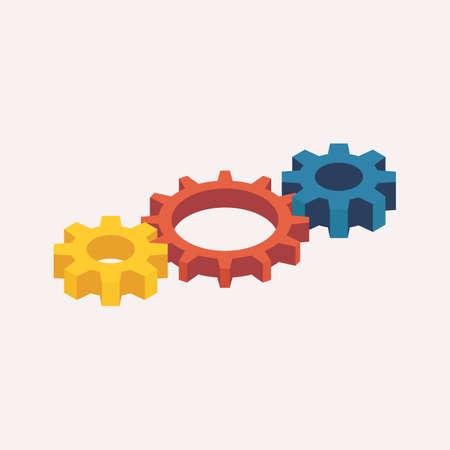 Isometric Mechanic Gears. 3D Vector illustration