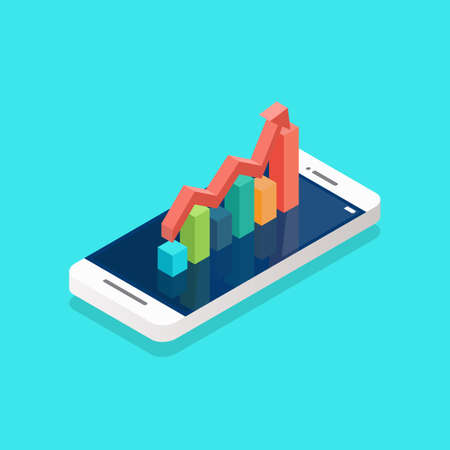 Red arrow growth with bar chart on the smartphone screen isometric. Vector illustration