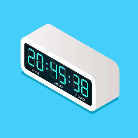 Digital electric alarm clock isometric view. Vector illustration Vectores