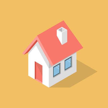 House flat isometric icon. Vector illustration