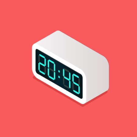 Digital alarm clock isometric view. Vector illustration