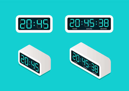 Digital alarm clock Front and Isometric view. Vector illustration