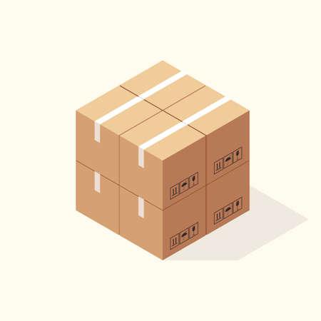 Isometric Cardboard Boxes. Vector illustration