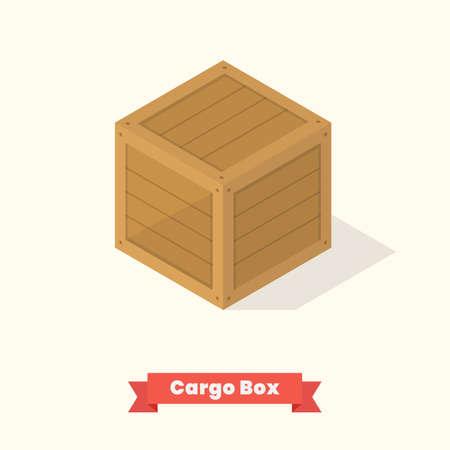 Cargo wood box isometric. Vector illustration