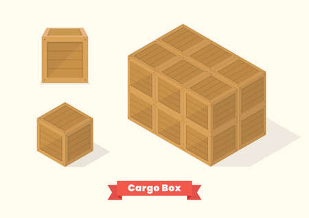 Cargo wood box isometric projection view. Vector illustration Vectores