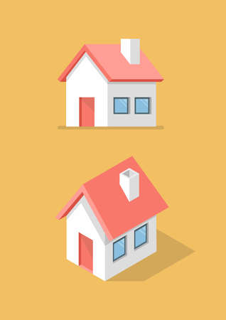 House in front view and isometric icon. Vector illustration