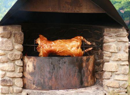Geroosterd varken aan het spit Stockfoto - 2496657