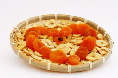 Healthy dried fruit in a  shape of heart