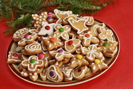 Delicious christmas gingerbread on the plate photo