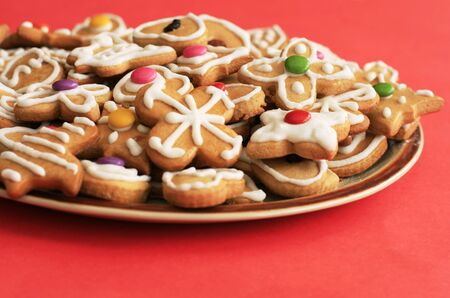 Delicious christmas gingerbread on the plate