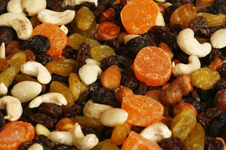 Healthy dried fruit and nuts  are a tasty snack