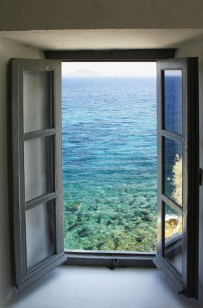 open windows:    Window looking out on the sea