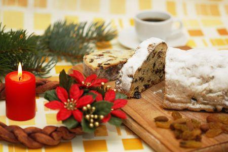 Christmas cake and Advent wreath  photo