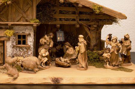 Nativity scene Infant Jesus, Mother Marry and her husband Joseph