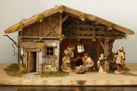 Nativity scene Infant Jesus, Mother Mary and her husband Joseph