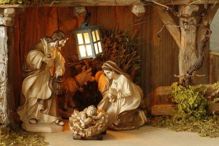 Nativity scene Infant Jesus, Mother Mary and her husband Joseph Stock Photo - 6344123