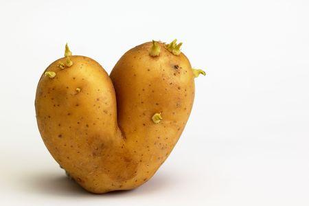 Potato in shape of flaming heart