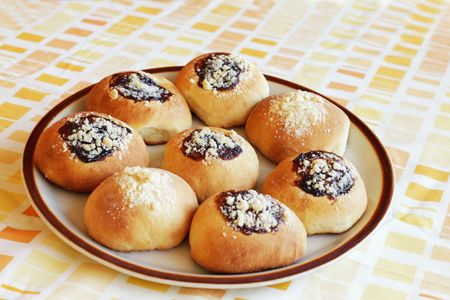Traditional homemade yeast buns from Central Europe