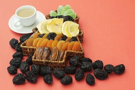 Tasty background from dried  fruit  photo