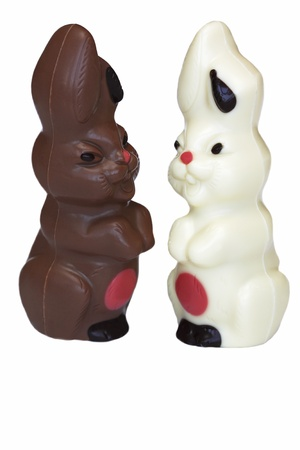 bunnie: Brown and white chocolate Easter bunnie Stock Photo