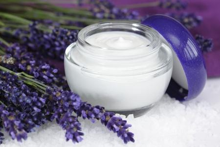 Face cream with lavender on sea salt  lat. Lavandula anugustifolia Stock Photo