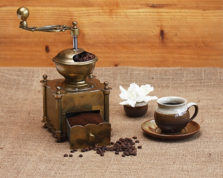 Coffee grinder and coffee photo