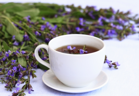 Cup of herbal tea from lat. Salvia officinalis
