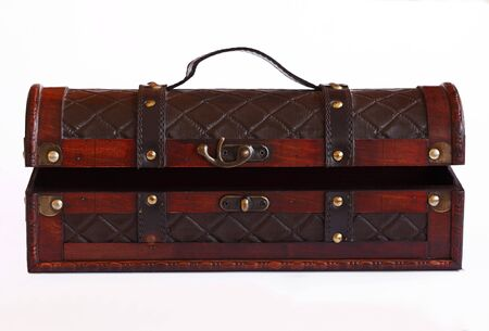 Leather and wooden box photo
