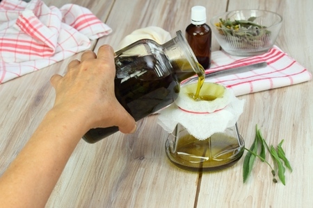 plantain herb: Olive oil filtered into a jar after 3 weeks