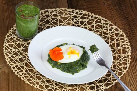 greem: Braised spinach,  poached egg and green smoothie
