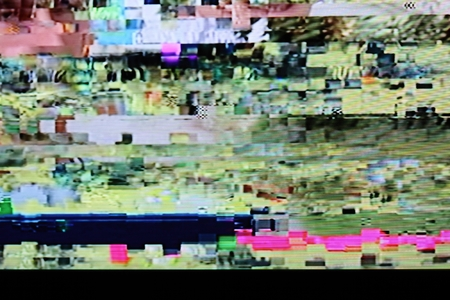 wobble: Television screen with static noise caused by bad signal reception