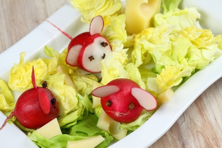 children party: Mouse from radish. Mice made from radish. Radish for children.  Raw radish. Children party.