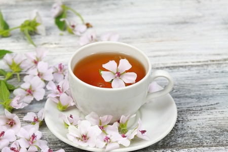 Tea from Marsh mallow, lat. Althaea officinalis, is good against cough, wooden board is decorated from marsh mallow flowers