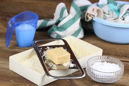 Homemade laundry detergent made from soap, crystalline sodium and water