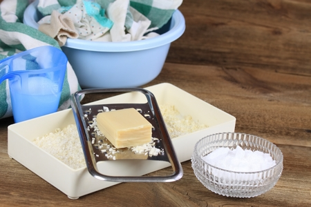 crystaline: Homemade laundry detergent made from soap, crystalline sodium and water