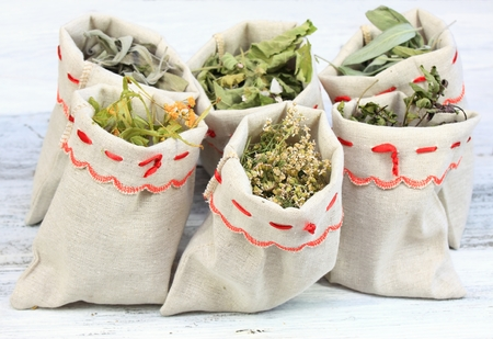 pepper mint: Dried medicinal and culinary herbs in linen  bags; sages, pepper mint, milfoil and   linden flowers
