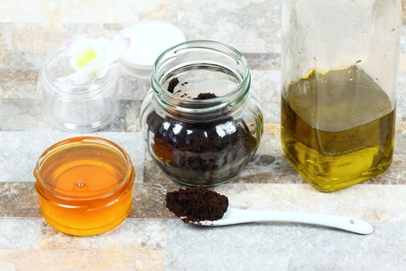 Skin scrub  from used coffee grounds, honey and olive oil. Good for face acne and body cellulite