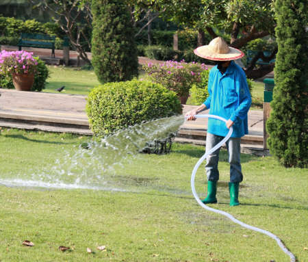 Worker watering a beautiful park with a hose. Photo was taken in Bangkok, Thailand, February 5th, 2015. 에디토리얼