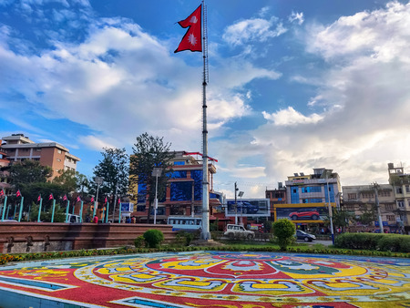 National Flag of Nepal standing tall