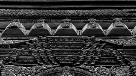 Wood carvings on the temple in Bhaktapur Durbar Square Stock Photo
