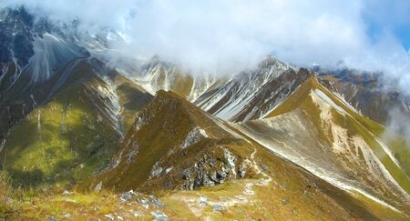 Stunning panorama landscape with trekking trails in Langtang Valley
