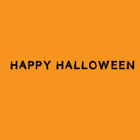 Happy Halloween with smiling pumpkins text isolated on orange background. Calligraphy vector illustration Archivio Fotografico - 130779773