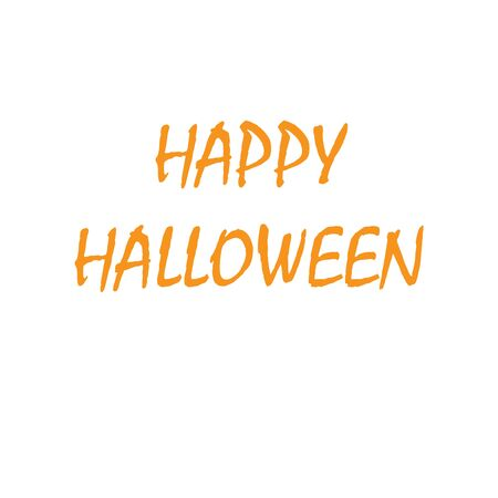 Happy Halloween in orange text isolated on a white background. Calligraphy vector illustration Archivio Fotografico - 130779782